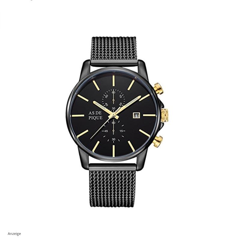 AS-DE-PIQUE-Chrono-Herren-Armbanduhr-schwarz-gold-Modell-2018