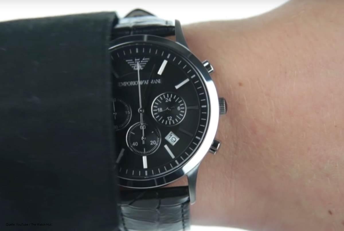 emporio armani ar2447 herren chronograph mit lederarmband. Black Bedroom Furniture Sets. Home Design Ideas