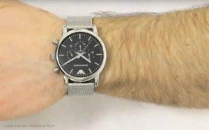 Armani-Herren-Chronograph-mit-schwarzem-minimalistischen-Ziffernblatt