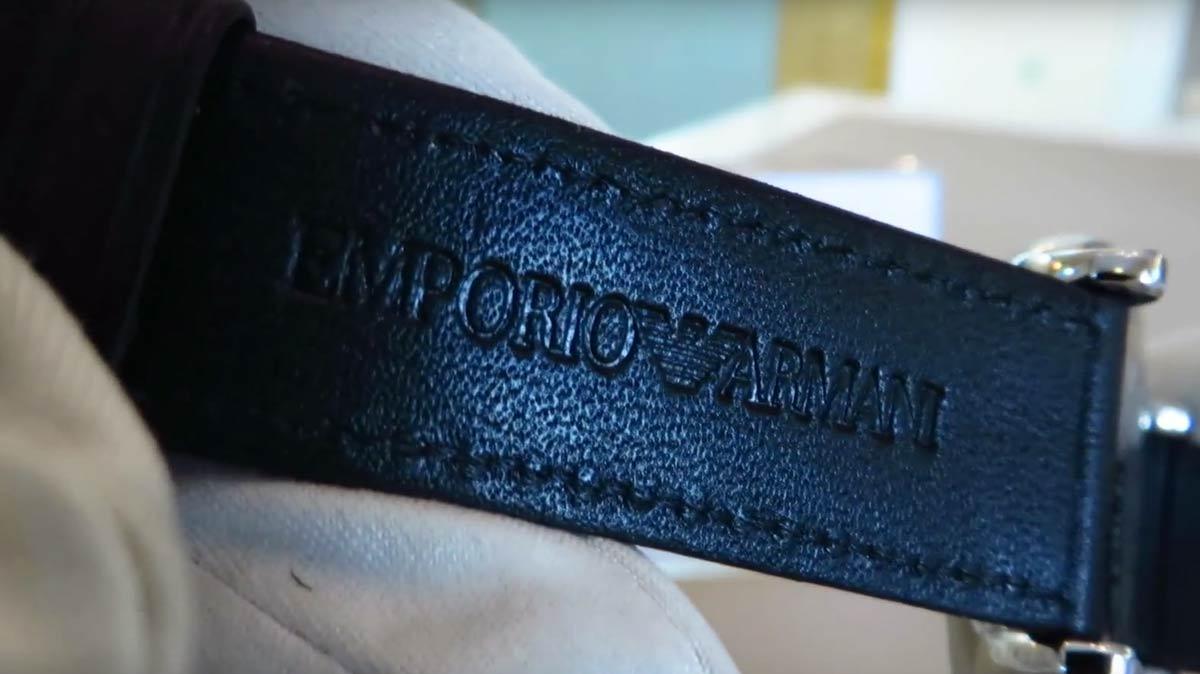 emporio armani ar1692 herrenuhr mit schwarzem lederarmband. Black Bedroom Furniture Sets. Home Design Ideas