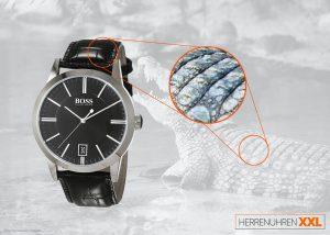 Boss-1513129-Herren-Businessuhr-mit-Lederband-mit-Krokodilpraegung