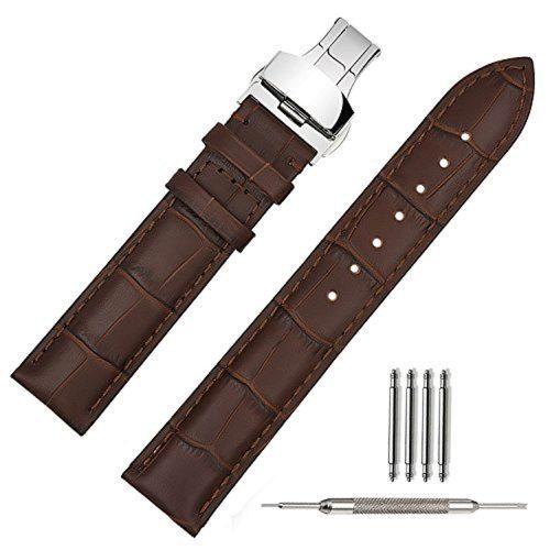 Braunes-Echtlederarmband-für-Herrenuhr-mit-silberner-Faltschliesse-aus-Edelstahl