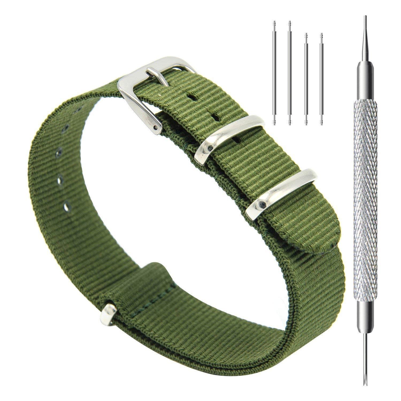 CIVO-Nylon-Uhrenarmband-Gruen-einfarbiges-Nato-Armband-20-mm-im-Set-mit-Werkzeug