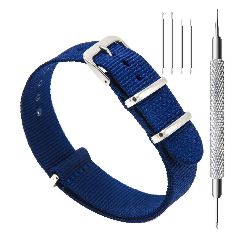 CIVO-Nylon-Uhrenarmband-blau-Nato-Armband-20-mm-reissfestes-Textilgewebe