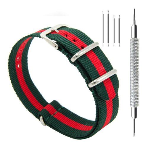 CIVO-Nylon-Uhrenarmband-gruen-rot-gestreift-Nato-Armband-20-mm-mit-Werkzeug-und-Federstaeben