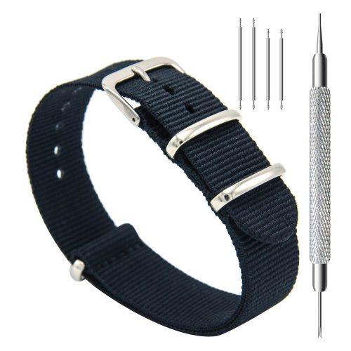 CIVO-Nylon-Uhrenarmband-in-Dunkelblau-Nato-Armband-20-mm-mit-Dornschliesse
