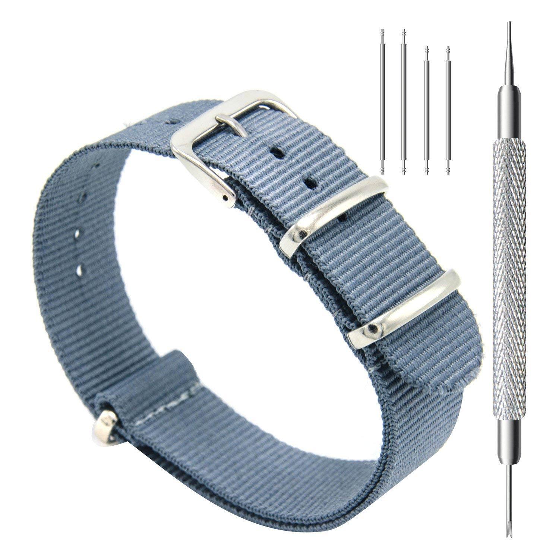 CIVO-Nylon-Uhrenarmband-in-Hellblau-Nato-Armband-20-mm,-reissfest-und-schnelltrocknend