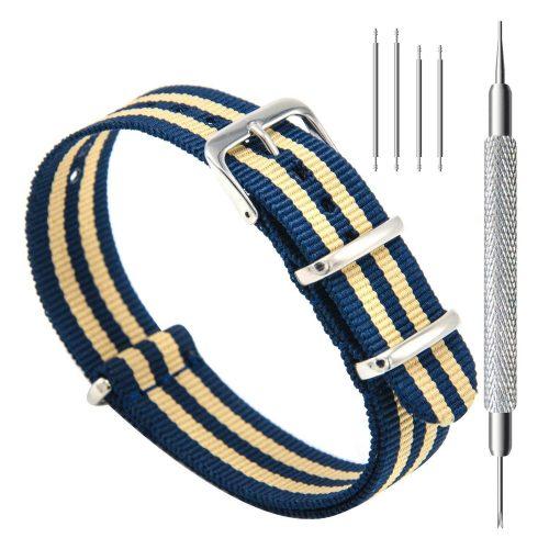 CIVO-Nylon-Uhrenarmband-in-blau-gelb-gestreift-Nato-Armband-20-mm-mit-Werkzeug
