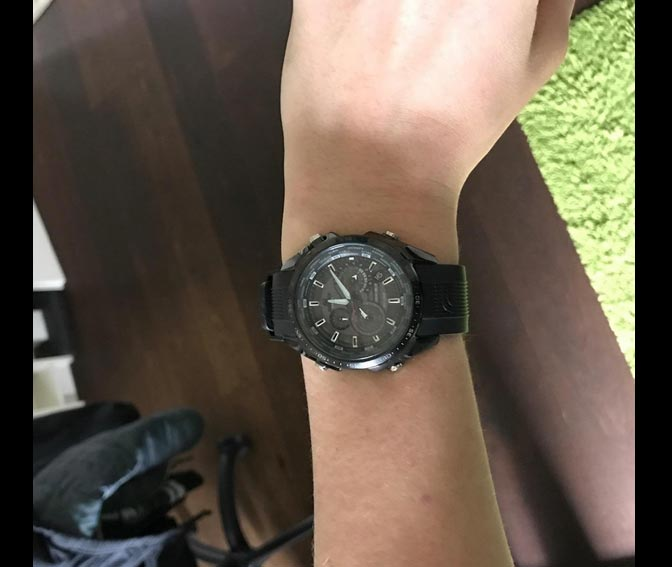 Armbanduhr am arm herren  Casio Herren-Solar-Armbanduhr EQS-500C-1A1ER mit Resin-Armband ...