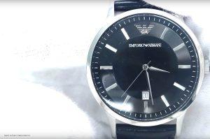 Empori-Armani-AR2411-Dresswatch-mit-schwarzem-Echtlederarmband