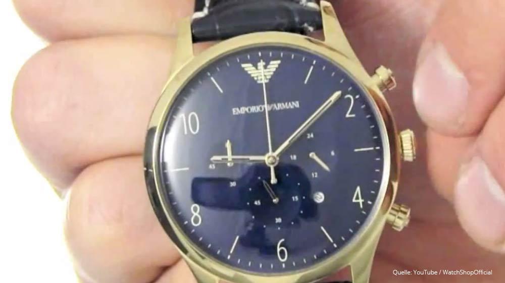 emporio armani ar1862 chronograph in gold blau mit saphirglas. Black Bedroom Furniture Sets. Home Design Ideas