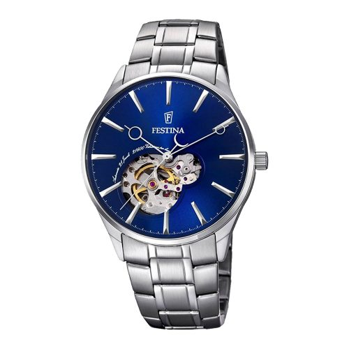 Festina-Automatik-Herrenuhr-F6847-3-in-Silber-Blau-mit-Gliederarmband-und-mechanischem-Uhrwerk