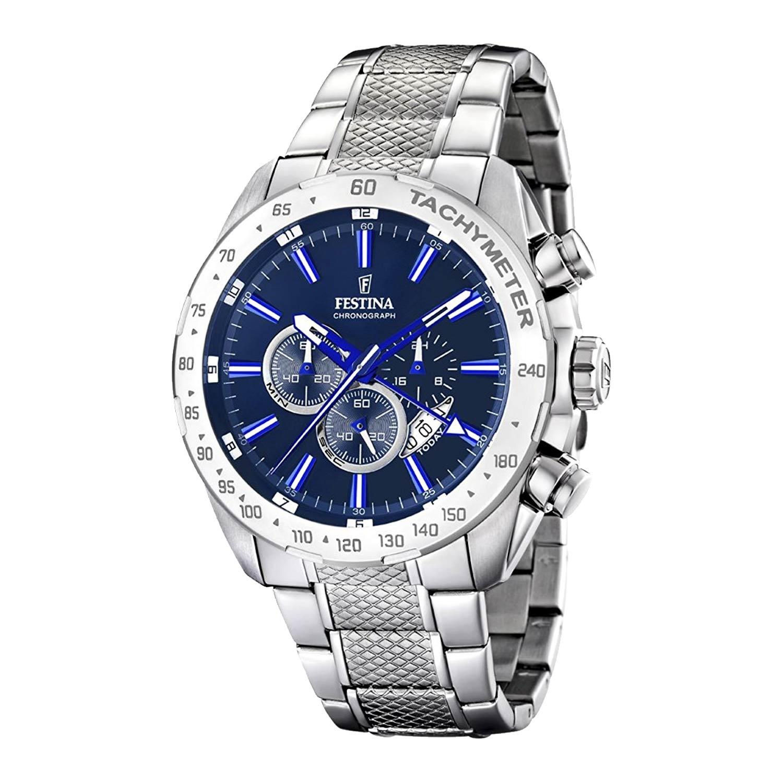 Festina-Chronograph-F16488-B-aus-Edelstahl-in-Silber-Blau-mit-Tachymeter-Miyota-Uhrwerk