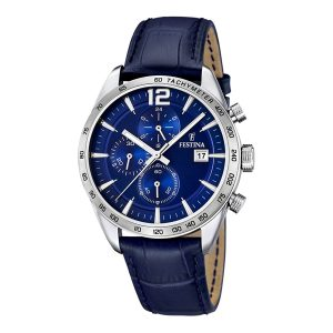 Festina-Chronograph-F16760-3-blaue-Herrenuhr-mit-Lederarmband-und-Tachymeter