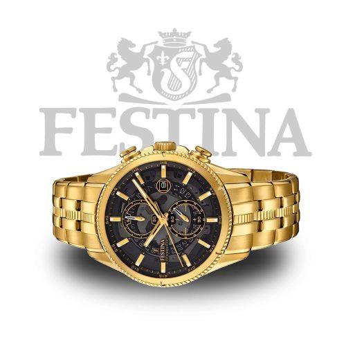 festina chronograph f20269 3 goldene herrenuhr aus 100. Black Bedroom Furniture Sets. Home Design Ideas