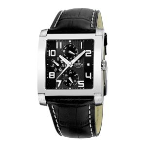 Festina-F16235-F-eckige-Herrenuhr-elegante-Analoguhr-mit-schwarzem-Lederarmband
