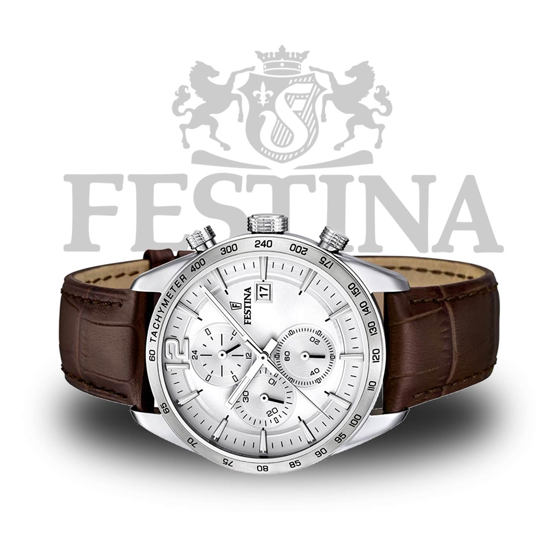 festina herren armbanduhr f16760 1 chronograph mit lederarmband. Black Bedroom Furniture Sets. Home Design Ideas