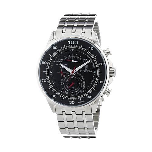 Festina-Herren-Armbanduhr-F6830ä4-in-Schwarz-Silber