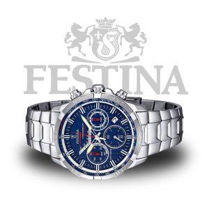 Festina-Herren-Armbanduhr-F6836-3-in-Silber-Blau-Chronograph-Edelstahl