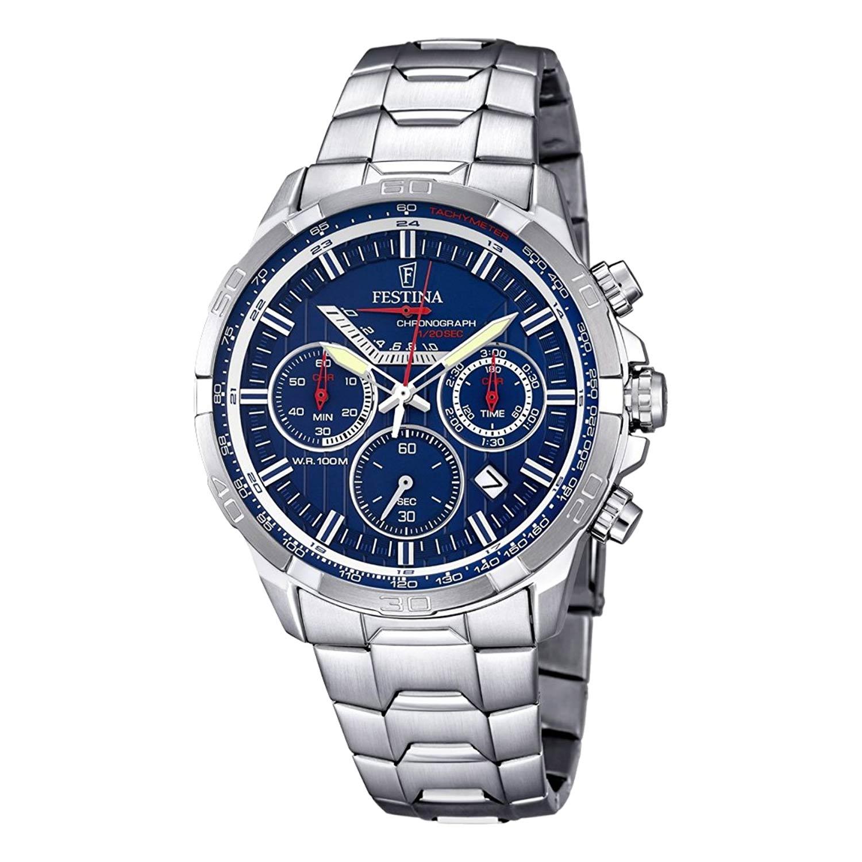 Festina-Herren-Armbanduhr-F6836-3-in-Silber-Blau-mit-Edelstahlarmband-und-retrograder-Anzeige