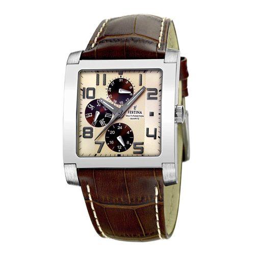Festina-Herrenuhr-F16235-B-eckige-Business-Uhr-aus-Edelstahl-und-Leder-mit-kratzfestem-Mineralglas