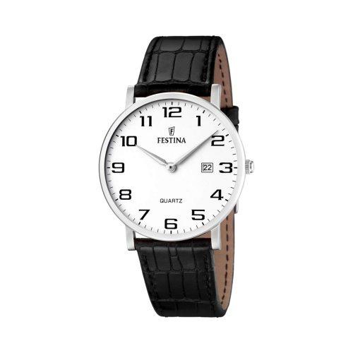Festina-Herrenuhr-F16476-1-in-klassischem-Design-mit-schwarzem-Rindslederarmband