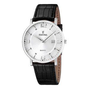 Festina-Herrenuhr-F16476-3-flache-und-leichte-Dresswatch-in-Schwarz-Silber-mit-Miyota-Quarzwerk