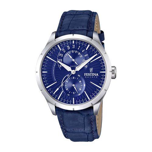 Festina-Herrenuhr-F16573-7-blaue-Armbanduhr-mit-Datumskomplikation-Mineralglas-blaues-Lederarmband