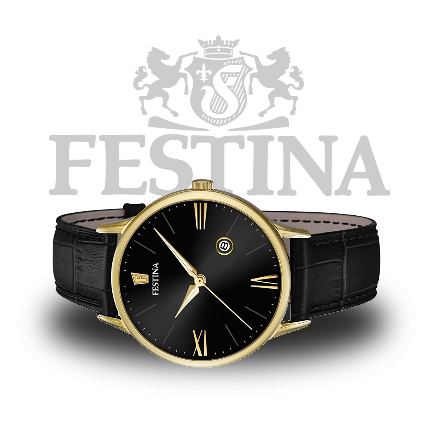 festina herrenuhr f16825 4 gold schwarze quarzuhr mit. Black Bedroom Furniture Sets. Home Design Ideas