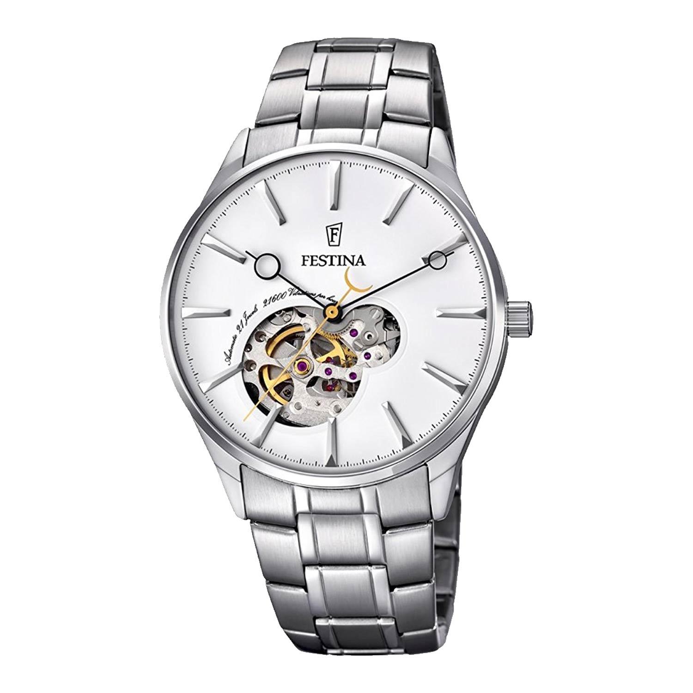 Festina-Herrenuhr-F6847-1-Automatik-Uhrwerk-in-Silber-aus-Edelstahl