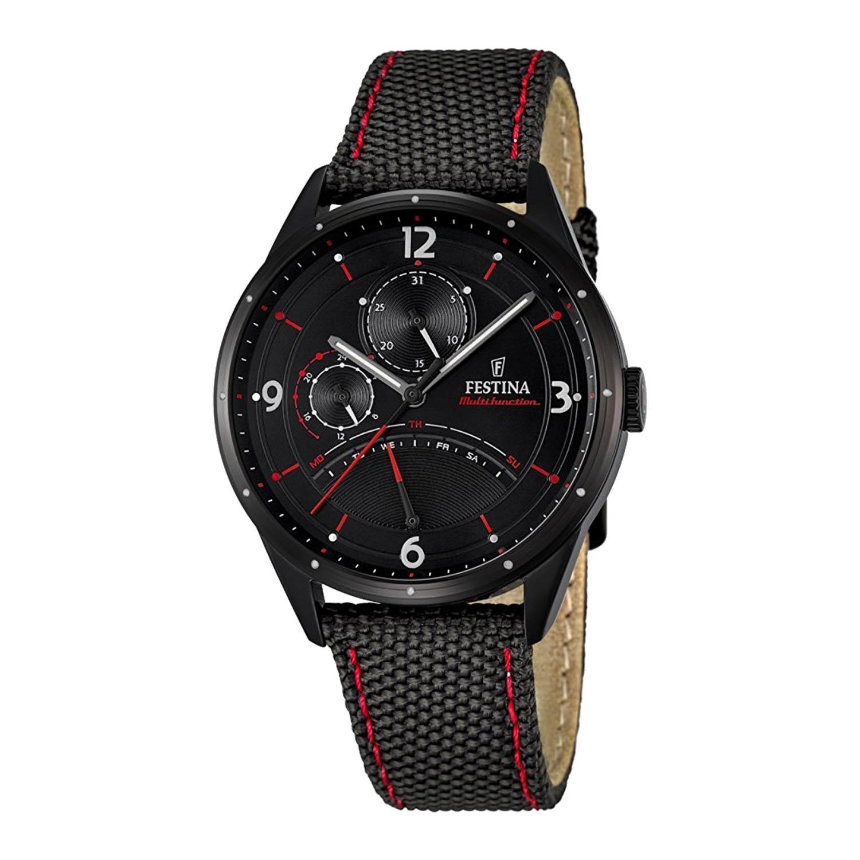 Festina-Multifunction-Herrenuhr-F16849-2-in-Schwarz-Rot-mit-Nylon-Leder-Armband-und-Mineralglas