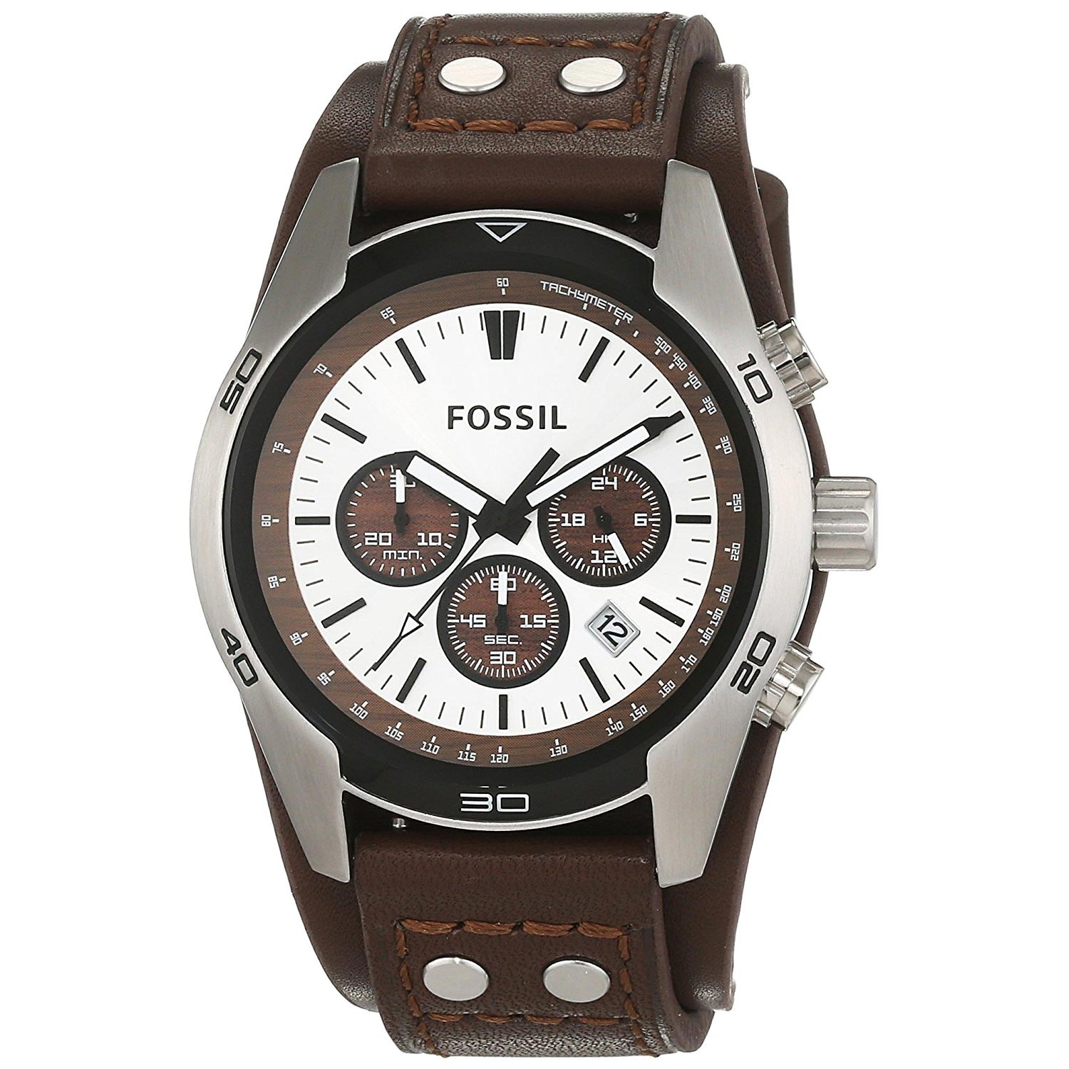 fossil herrenuhr ch2565 braun weisser herrenchronograph mit lederarmband herrenuhren. Black Bedroom Furniture Sets. Home Design Ideas