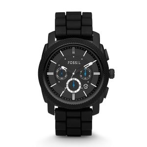 Fossil-Herrenuhr-FS4487-Machine-sportlicher-Chronograph-mit-schwarzem-Silikonarmband