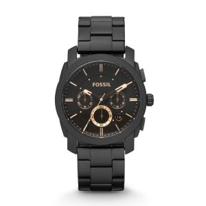 Fossil-Herrenuhr-FS4682-Machine-Chronograph-in-Matt-Schwarz-Rosegold