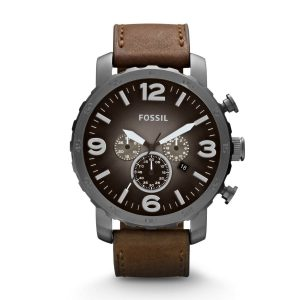 Fossil-Herrenuhr-JR1424-Nate-Chronograph-in-Braun-Grau-Industrial-Design