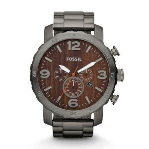 Fossil-JR1355-Oversized-Herrenuhr-XL-Chrongraph-mit-Holz-Optik-Ziffernblatt