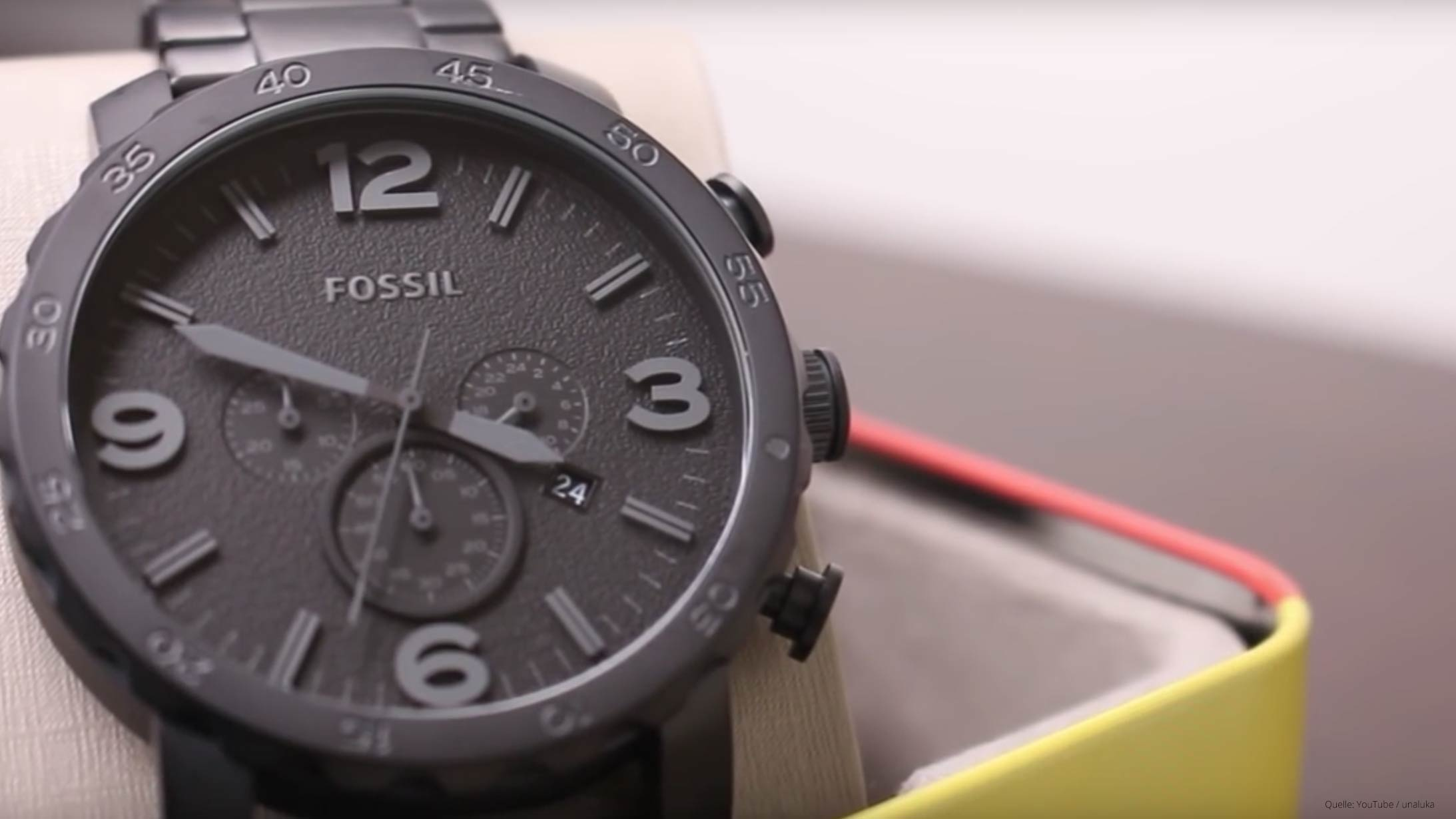 fossil herrenuhr jr1354 nate chronograph in schwarz und. Black Bedroom Furniture Sets. Home Design Ideas
