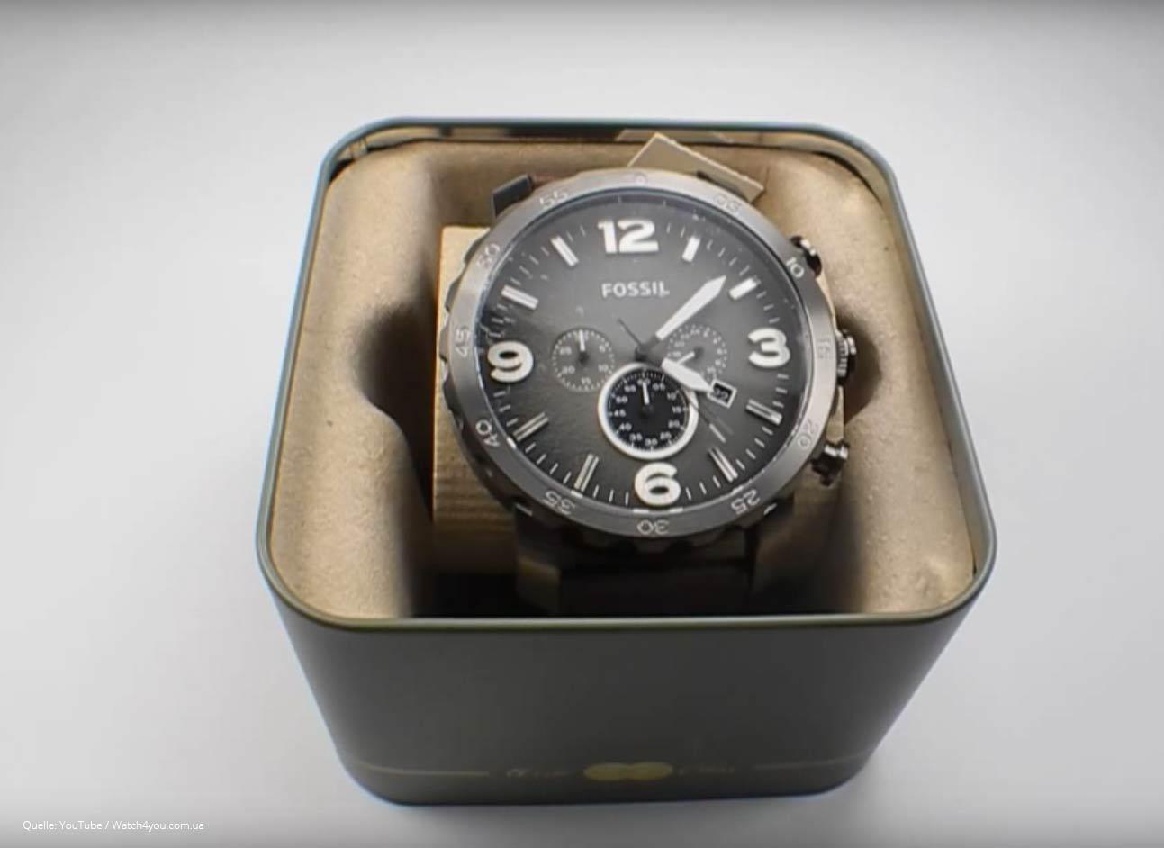 fossil herrenuhr jr1424 nate chronograph braun grau. Black Bedroom Furniture Sets. Home Design Ideas