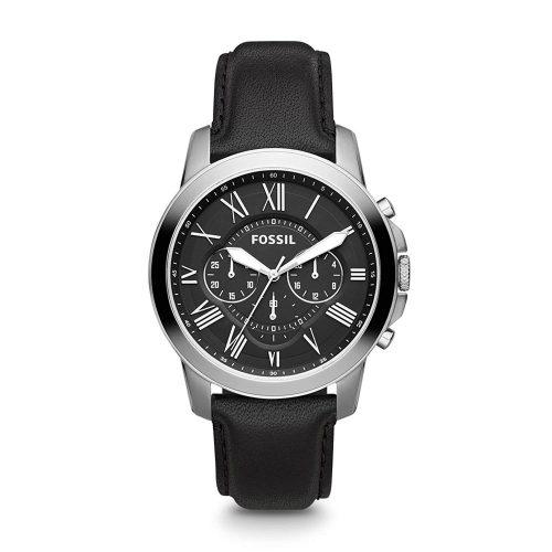 Fossil-Uhr-Herrenuhr-FS4812-Grant-aus-Edelstahl-mit-Lederband