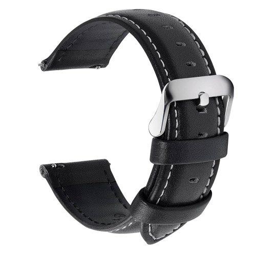 Fullmosa-Uhrenarmband-Schwarz-22-mm-breit-mit-silberner-Dornschließe-und-weissen-Kontrastnaehten