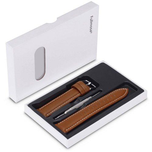 Fullmosa-Uhrenarmband-in-Hellbraun-Set-mit-Werkzeug-und-Geschenkbox