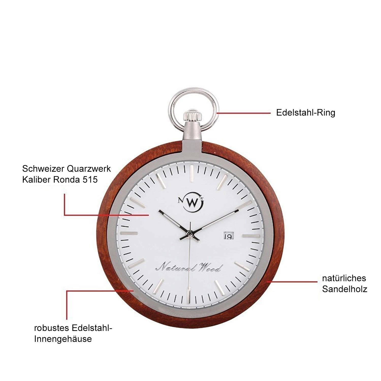Holz-Taschenuhr mit Edelstahlkette und Schweizer Quarzuhrwerk
