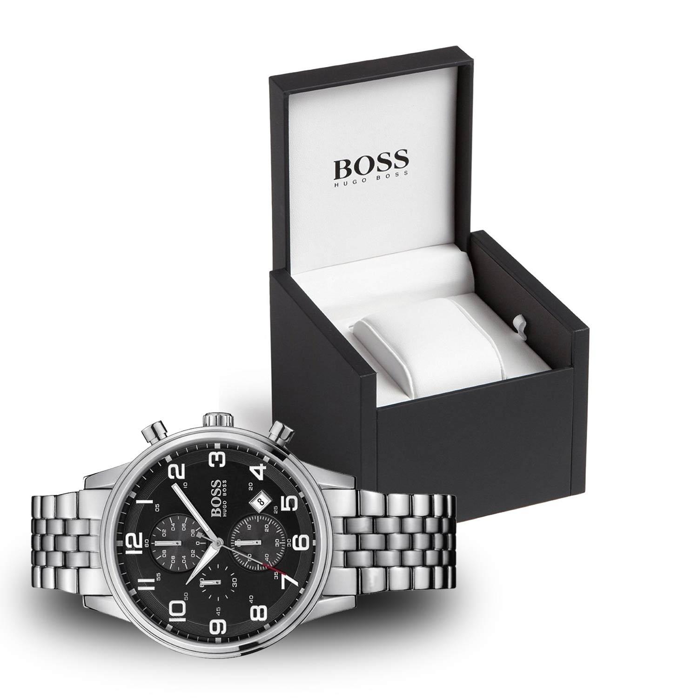 hugo boss 1512446 aeroliner herren chronograph in silber. Black Bedroom Furniture Sets. Home Design Ideas