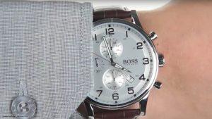 Hugo-Boss-1512447-Herrenuhr-in-Dunkelbraun-Silber-Weiss