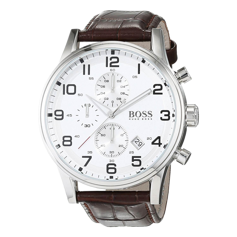 Hugo-Boss-1512447-Herrenuhr-in-Silber-Weiss-Braun-aus-Edelstahl-mit-Lederarmband