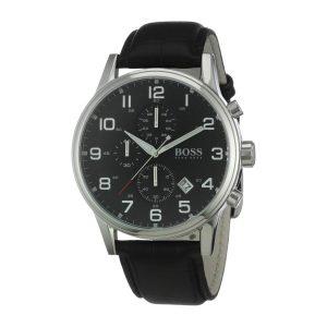 Hugo-Boss-1512448-Herren-Chronograph-in-Schwarz-Silber-mit-Rindslederarmband