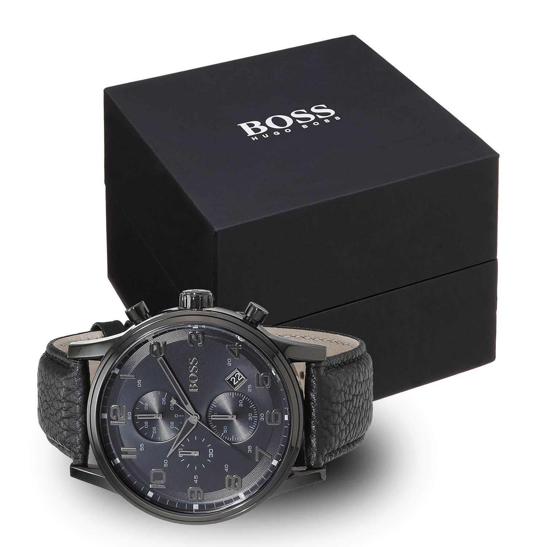 hugo boss 1512567 herrenuhr in schwarz mit kroko lederarmband. Black Bedroom Furniture Sets. Home Design Ideas