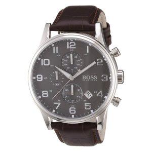 Hugo-Boss-1512570-Herrenuhr-mit-elegantem-Lederarmband-und-Mineralglas
