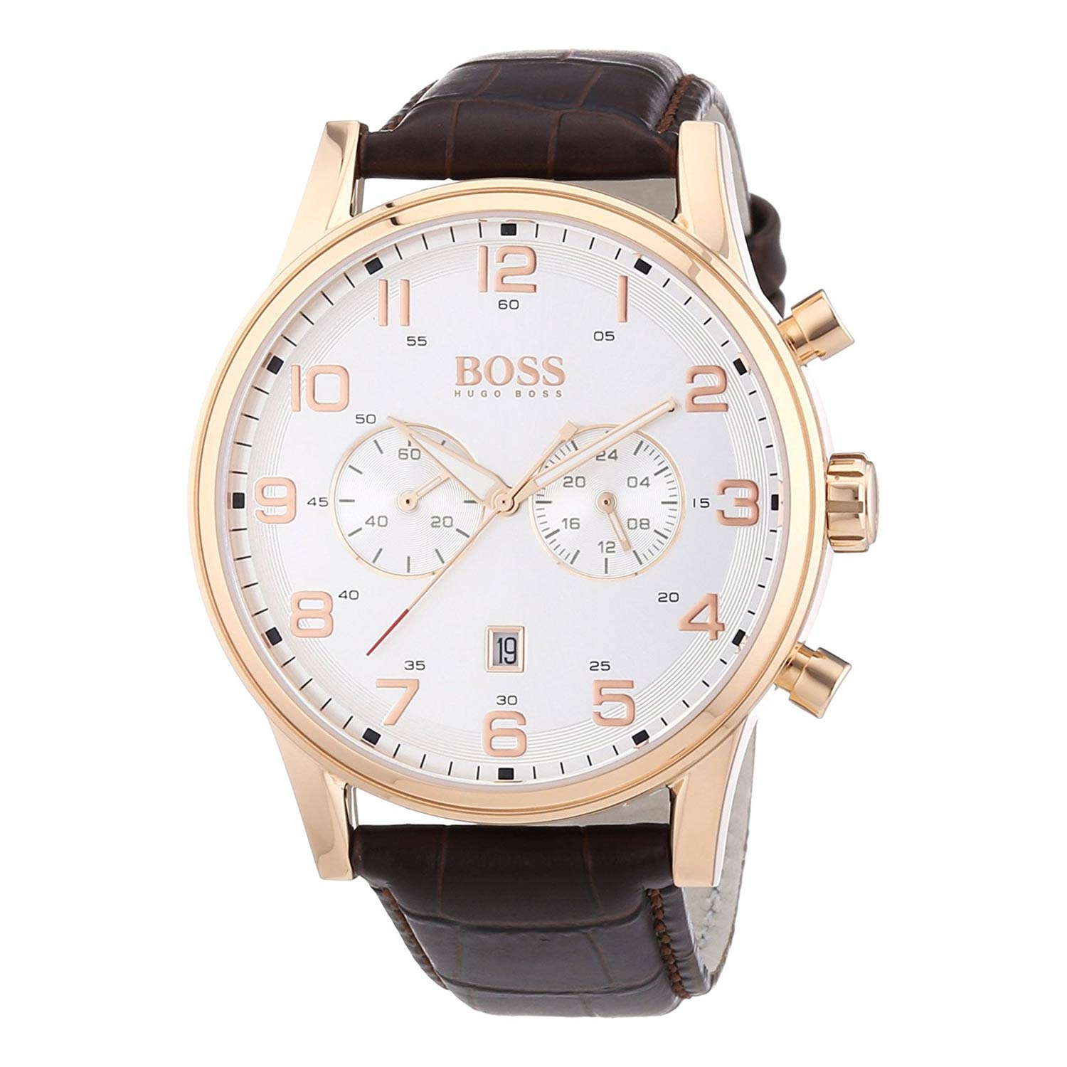Hugo-Boss-1512921-Herrenuhr-in-Gold-Weiss-mit-Kalbslederarmband