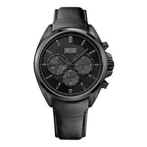 Hugo-Boss-1513061-Herren-Chronograph-in-Schwarz-aus-Edelstahl-mit-Lederarmband